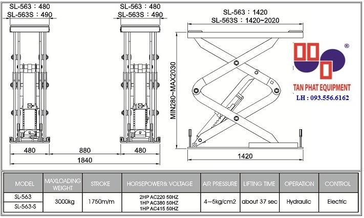 bản vẻ kỹ thuật nền móng cầu nâng SL-563S